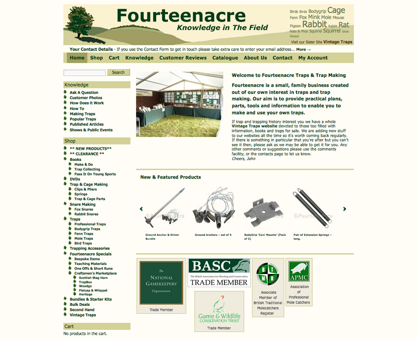 Fourteenacre website shop front